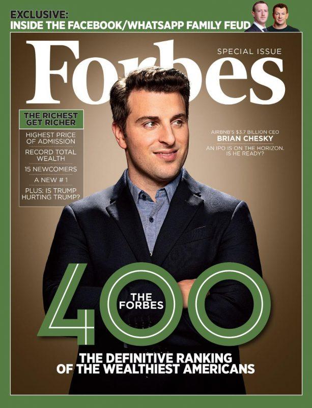 La copertina del numero di ottobre di Forbes Magazine con Brian Chesky di Airbnb