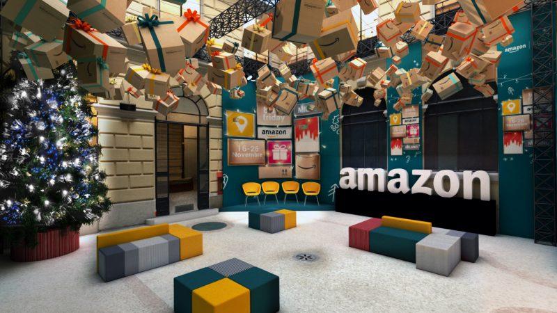immagine amazon pop-up store, bonus dipendenti