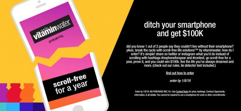 Il banner che pubblicizza l'iniziativa di VitaminWater