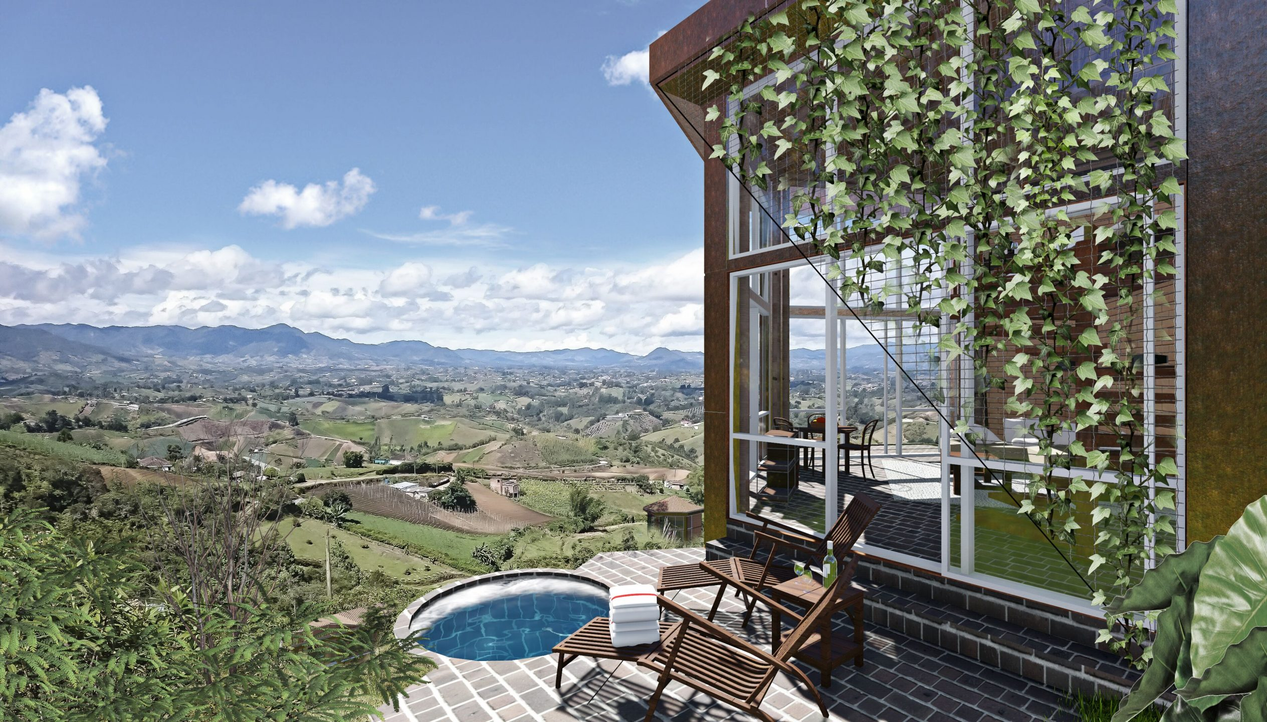 cielo piscina verde