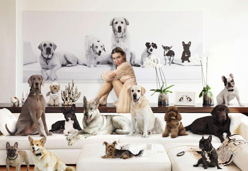 La stilista Elisabetta Franchi con i suoi cani