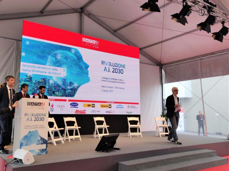 Un momento dell'inaugurazione del data center di Cornaredo nell'ambito dell'evento