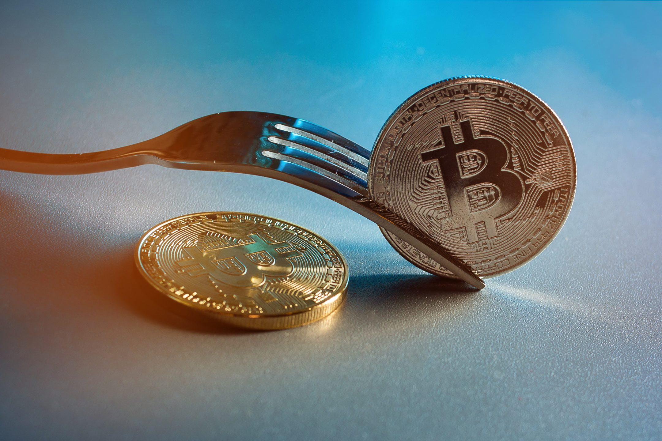 bitcoin con forchetta