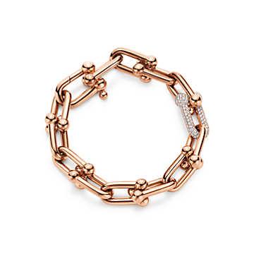 Gioielli Tiffany & Co: bracciale Tiffany HardWear Link in oro rosa 18 carati con diamanti