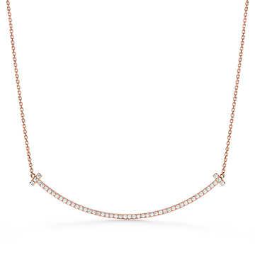 Gioielli Tiffany & Co: pendente Tiffany T Extra Large Smile in oro rosa 18 carati con diamanti