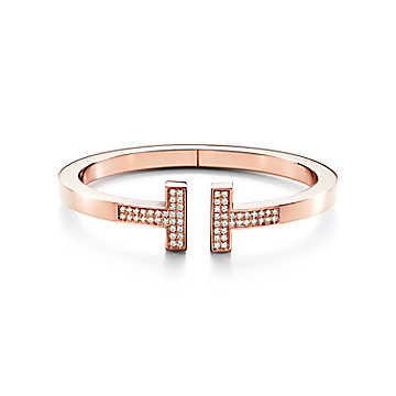 Gioielli Tiffany & Co: bracciale Tiffany T Square in oro rosa 18 carati con pavé di diamanti