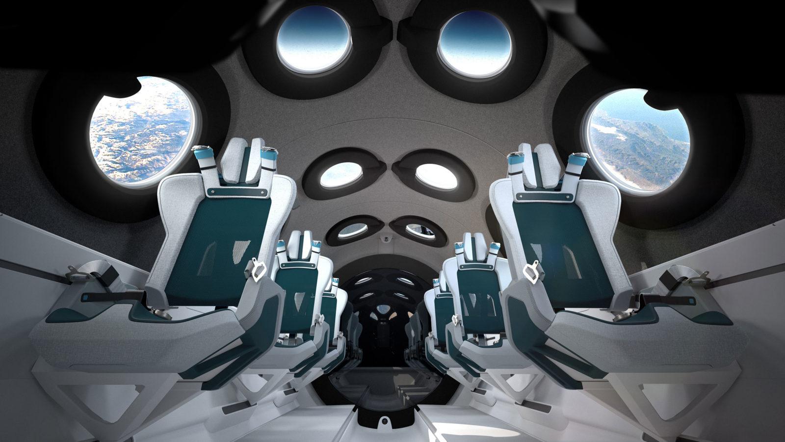 Virgin Galactic: gli interni della navicella spaziale SpaceShipTwo