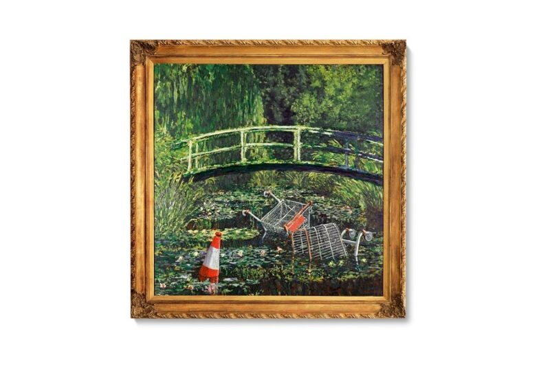 Banksy Show me the Monet, ninfee impressioniste