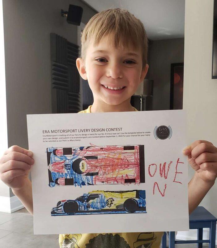 owen bambino di sei anni disegna livrea di una hypercar per Daytona